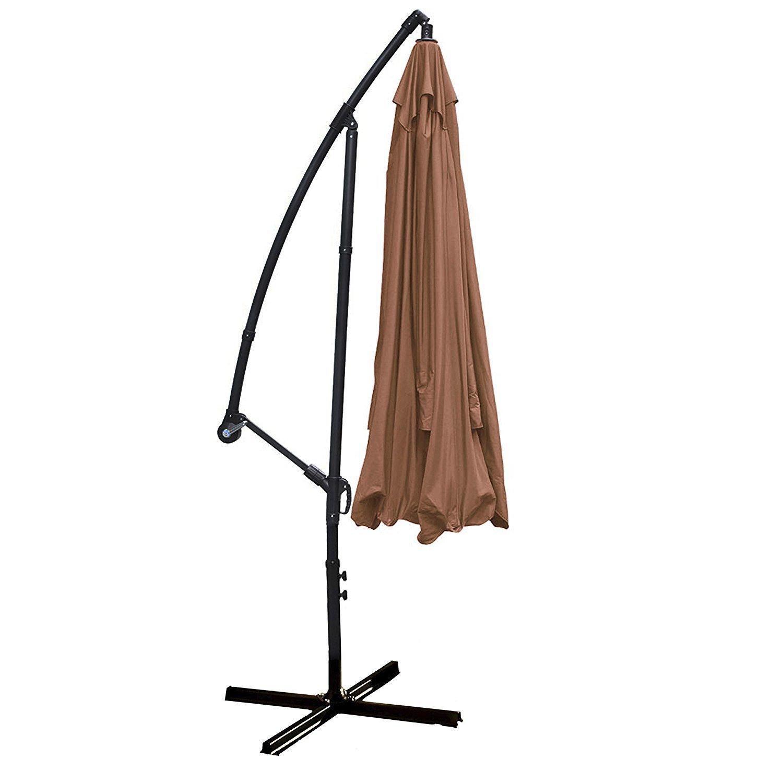 Adjustable Outdoor Garden Patio Banana Hanging Tan Umbrella