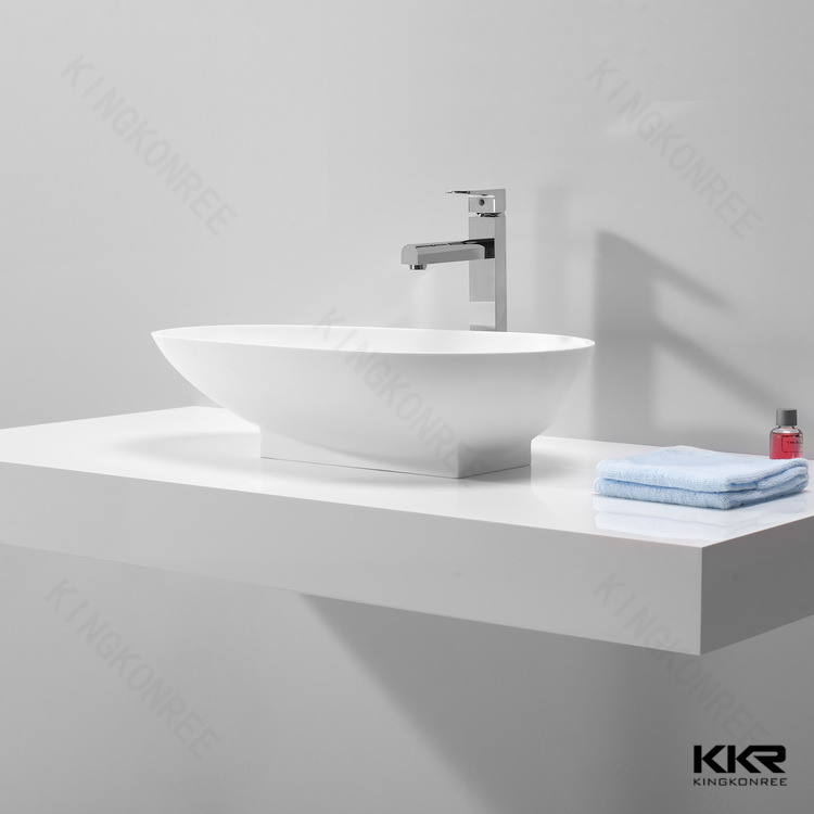 China Solid Surface Above Counter Round Washing Basin for Hotel Project