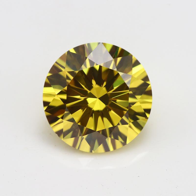 10 Heart 10 Arrow Cutting Round Yellow Cubic Zircon Gemstone
