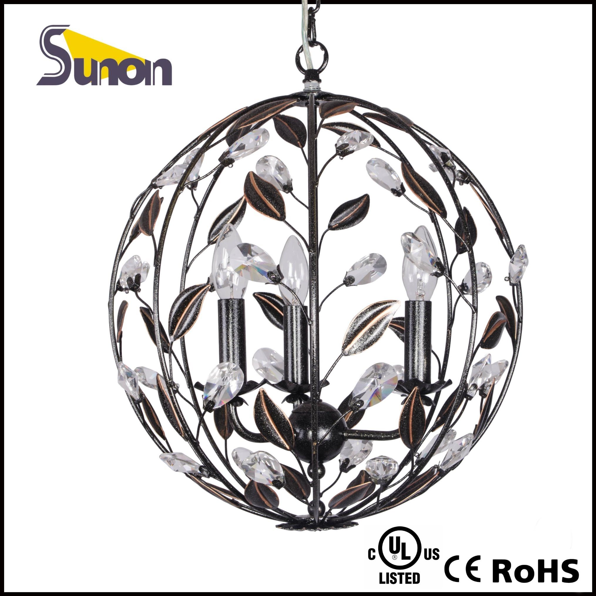 Ball Shaped Iron Black Pendant Lamp