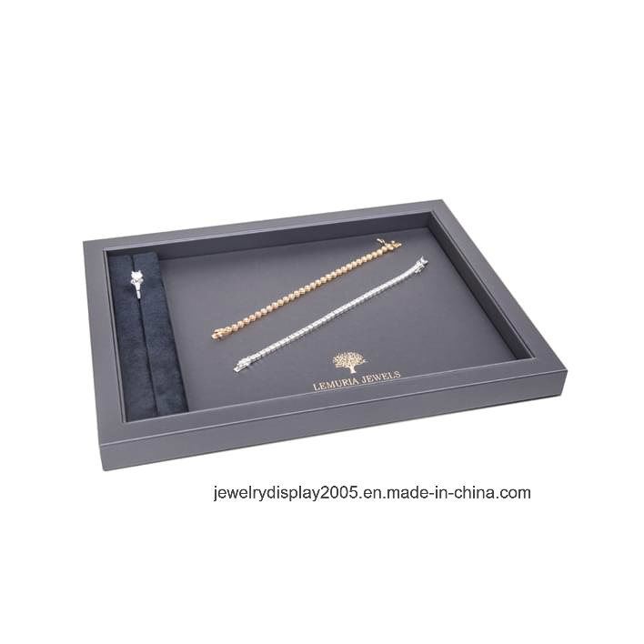 Jewelry Sets Display Tray, MDF Jewelry Showcase Wooden Stand