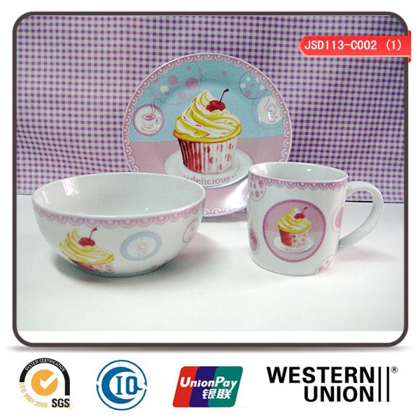 3PCS Children Ceramic Tableware