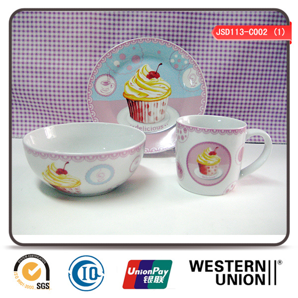 3PCS Children Tableware in Ceramic