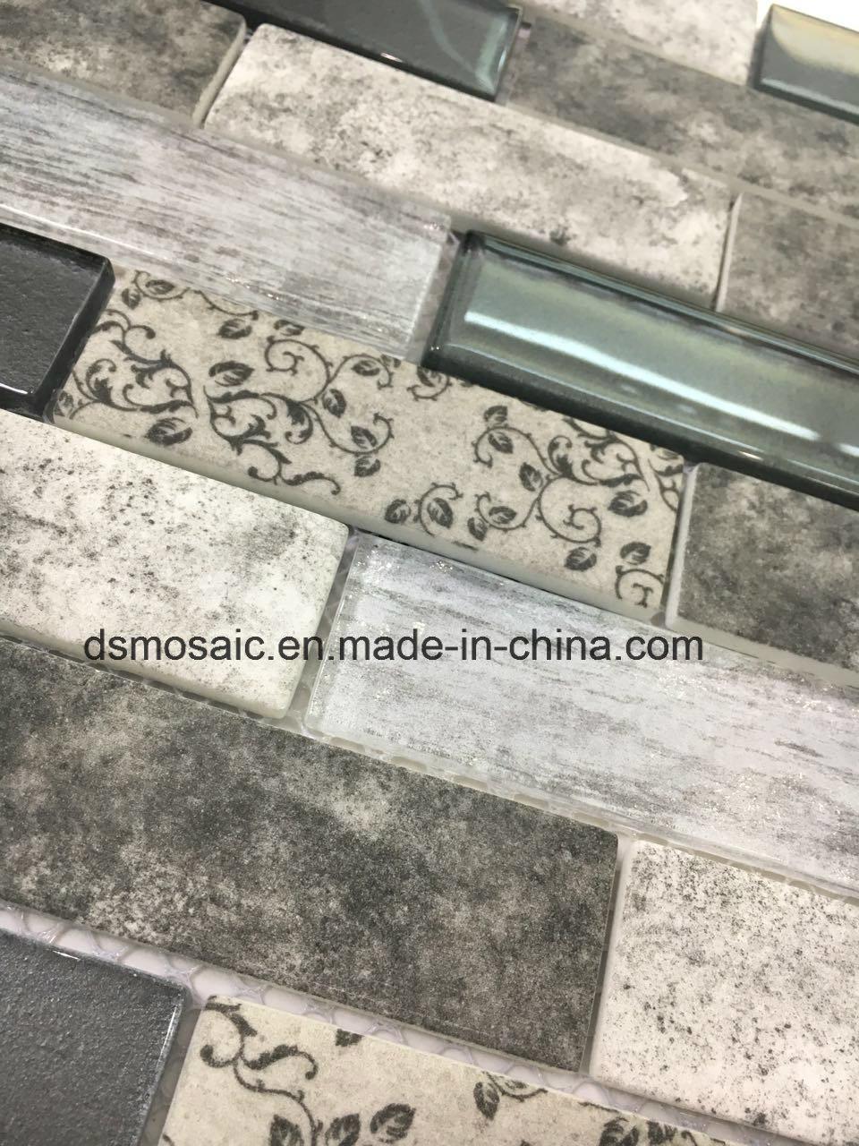 Newest Technology Full Body Interlocking Gray Glass Mosaic Tile