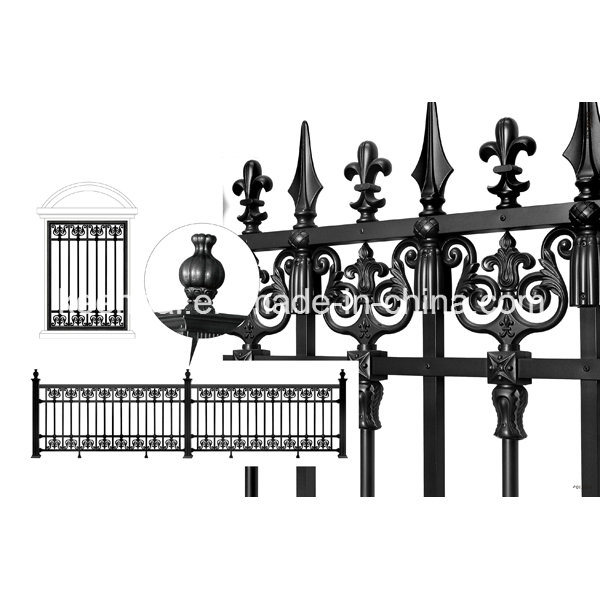Power Coated Cast Aluminum Metal Garden Fence for Villa Security