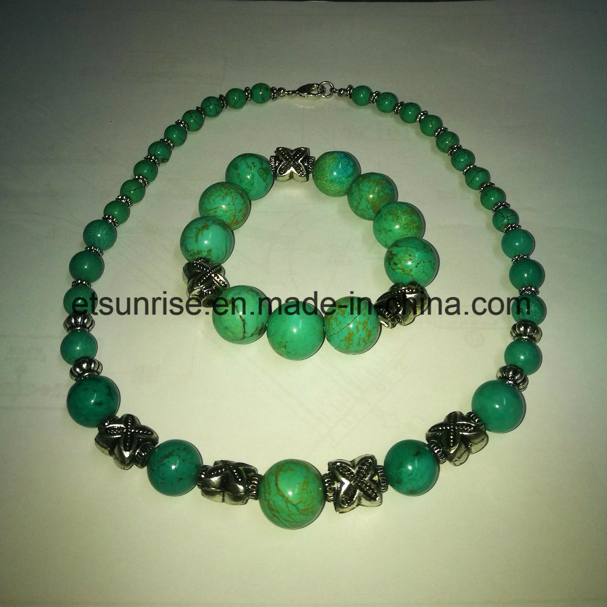 Fashion Turquoise Beaded Graduated Necklace
