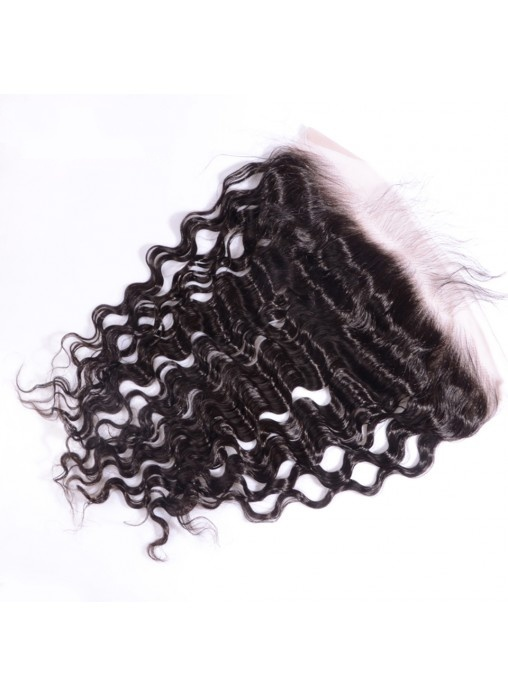 13X4 Deep Wave Virgin Hair Lace Frontal Closure Natural Hairline Bleached Knots Lace Frontals with Baby Hair