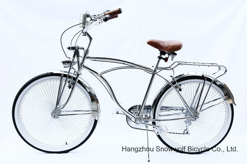 New Chrome 7 Speed Hi-Ten Low Rider Beach Cruiser Bicycle (ARS-2680S)