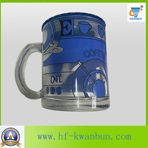 Golden Hot Sale Tea Coffee Glass Mug with Decal Tableware