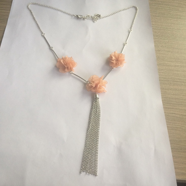 Three Fabric/Cotton Flower Necklace with Metal Tassel Fashion Jewelry