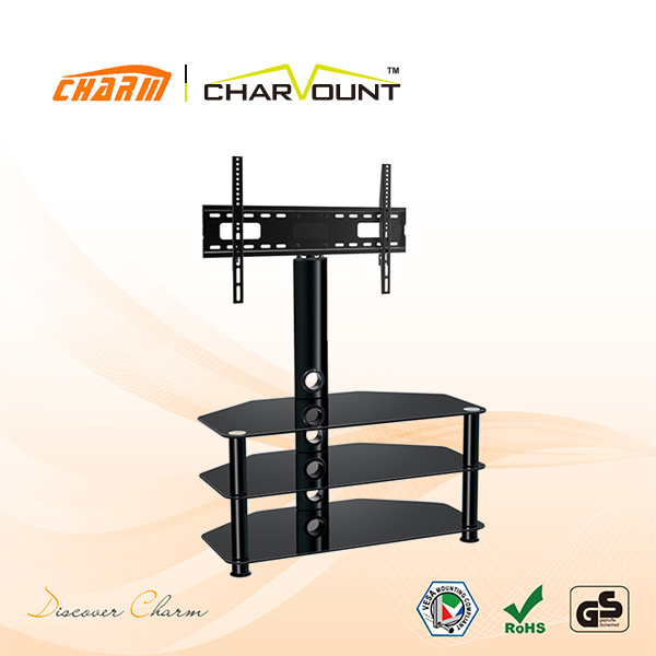 High Quality 3 Shelf Tempered Glass Bedroom LCD TV Stand Aluminium Tube (CT-FTVS-N203B)