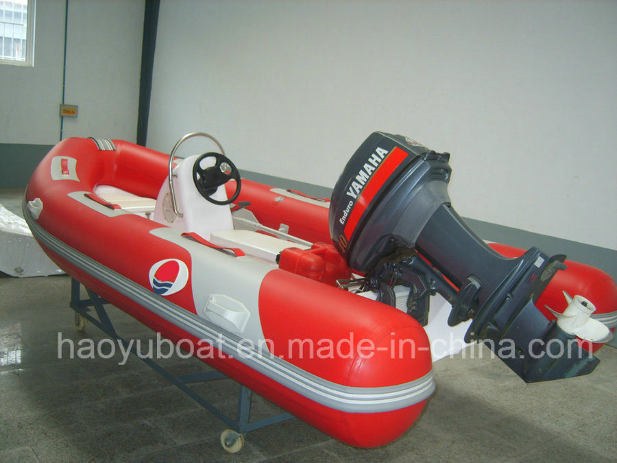 4.2m Fiberglass Hull Rib Boat with CE Rigid Hull Inflatable Boat with Outboard Motor Fishing Boat