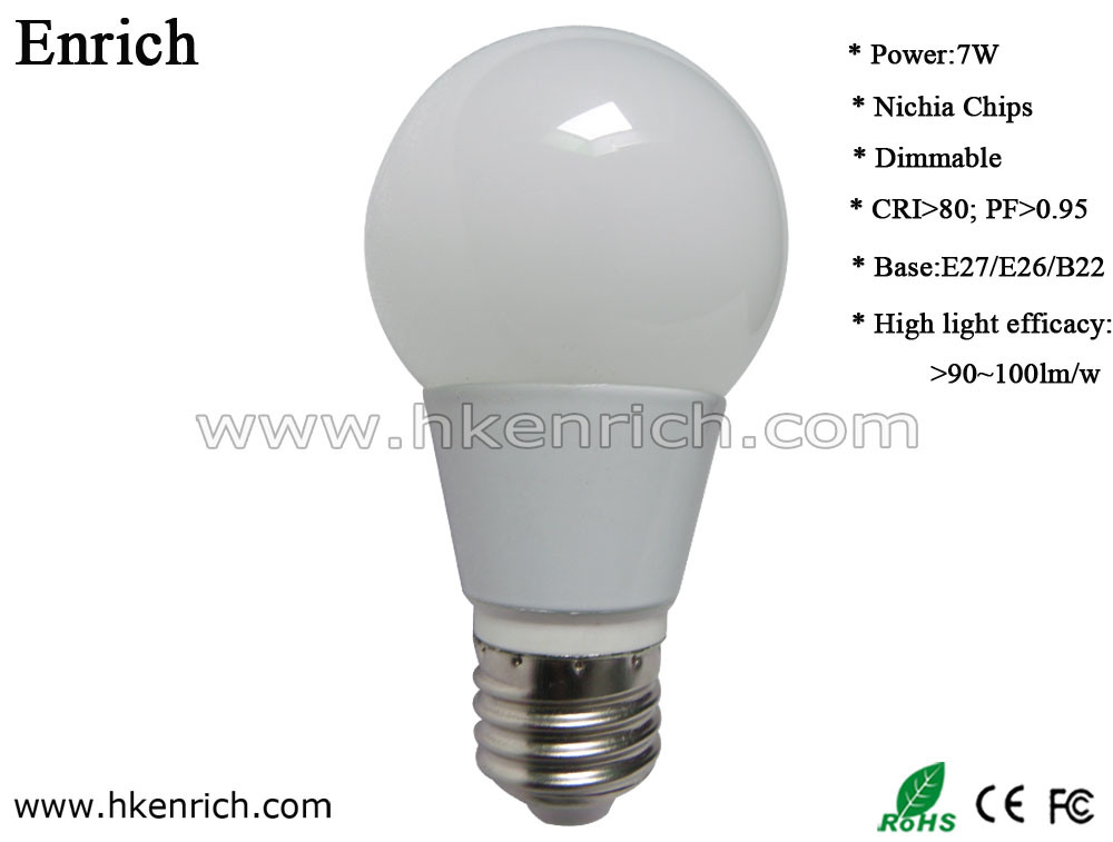 3W Dimmable High Lighting Efficiency White/Black LED Bulb Pf>0.95 CRI>80