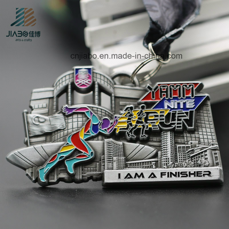 New Style Zinc Alloy Antique Metal Custom Running Marathon Medals with Ribbon (JIABO-JP1669)