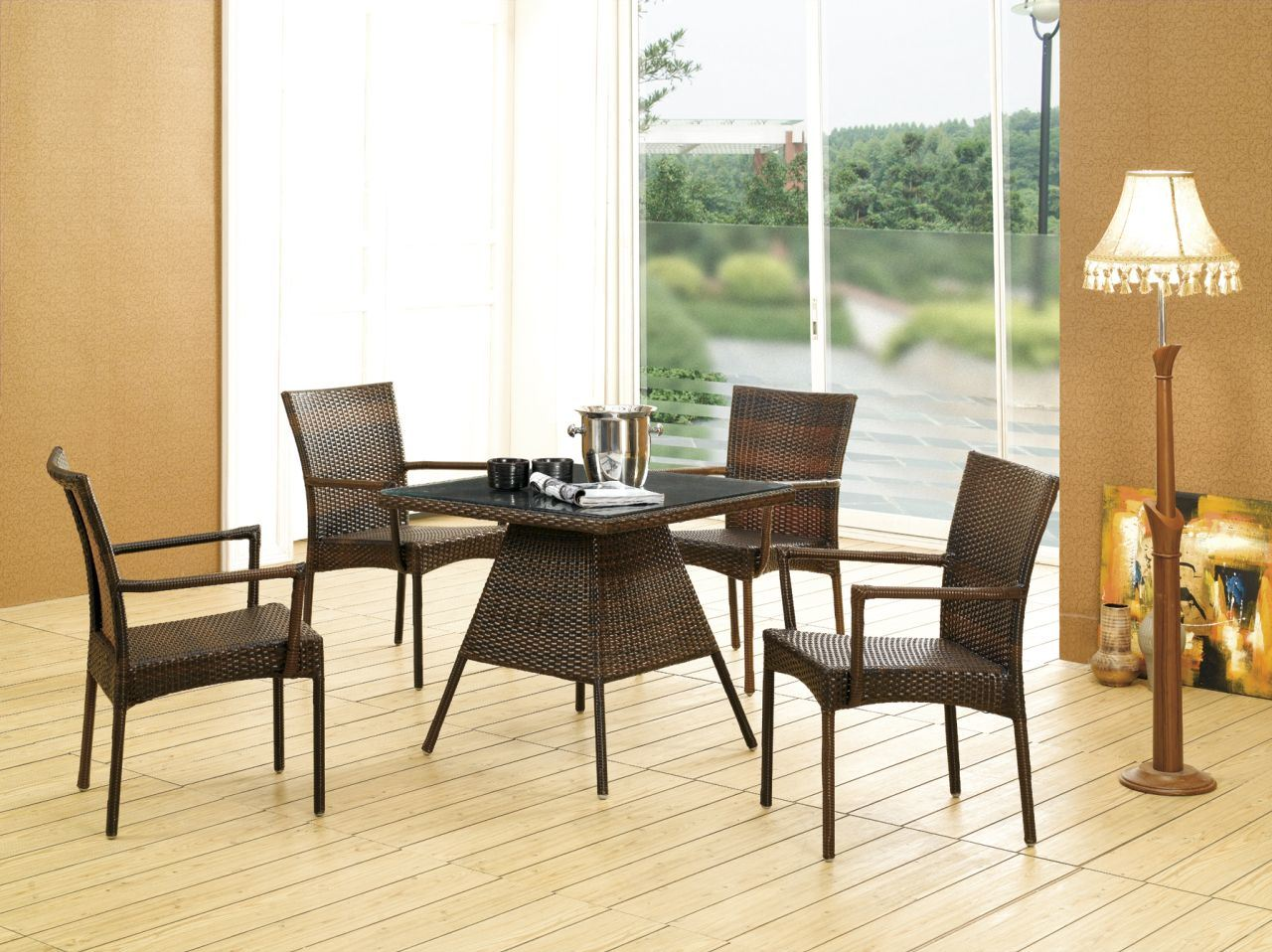 Rattan Dinette, Rattan, Tables, Wicker Tables  Chairs, Glass Top