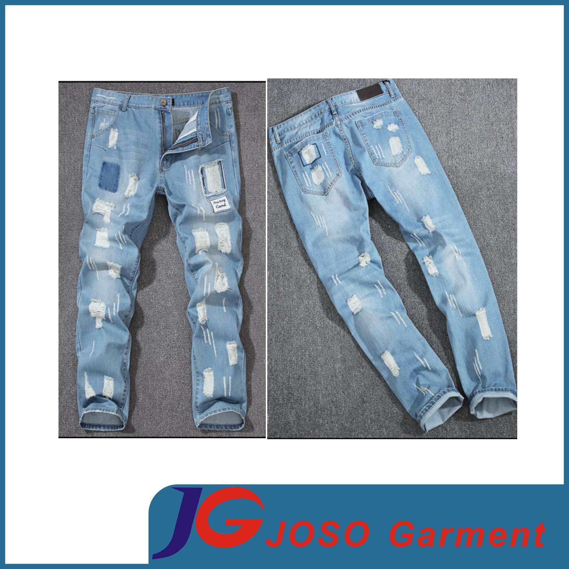 Jeans Wholsale Ripped Jeans Denim Skinny Pants for Man (JC3392)