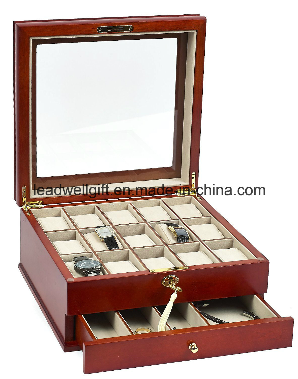 Men′s/Women′s Watch Box for 15 Watches