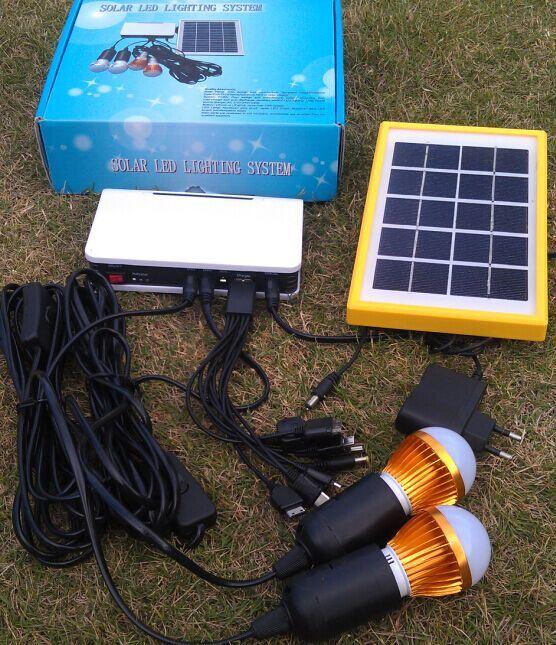 Solar System LED Light Kits with 2PCS 1W LED Bulbs/ USB Charger