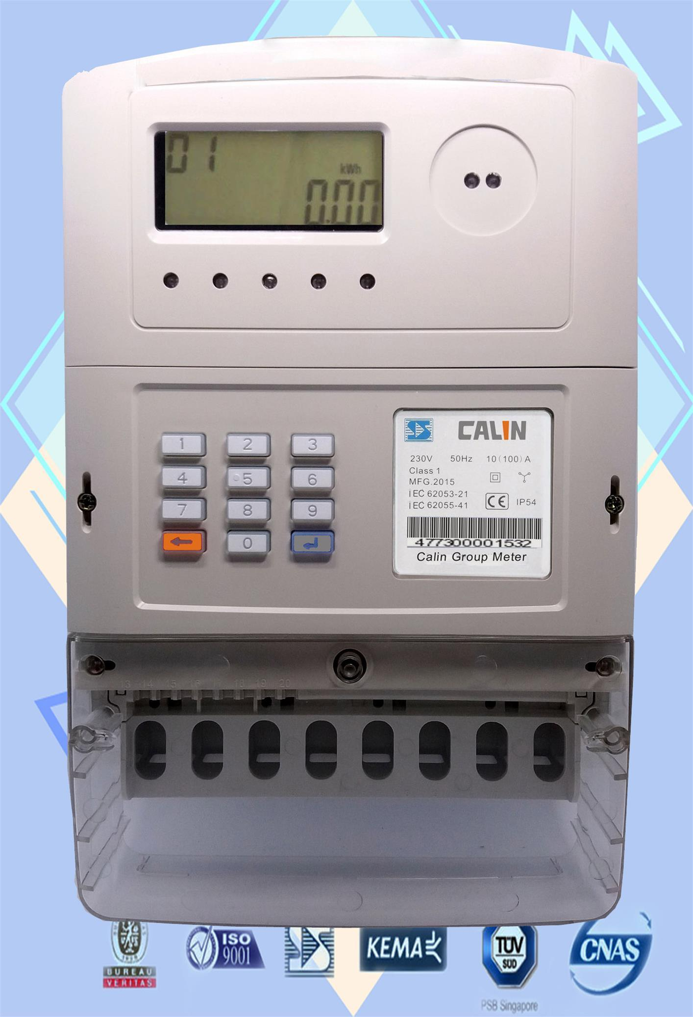 Three Phase Sts Keypad Prepaid/Prepayment Meter with GPRS Module