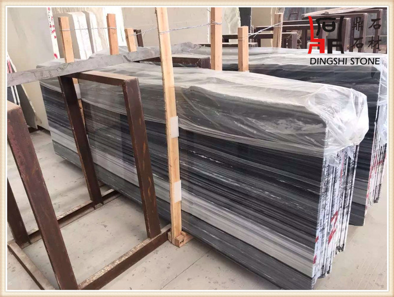 Natural Marble Blue Wooden Grey Marble Slabs for Wall Decoration