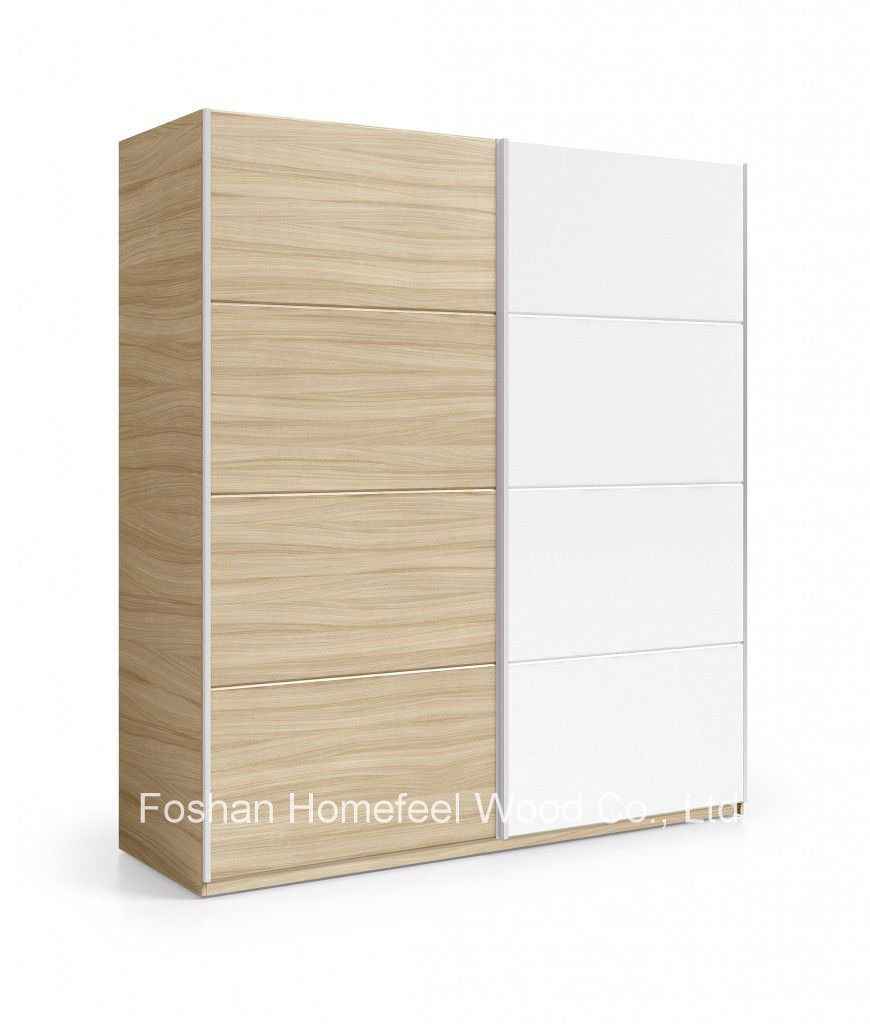 Modern Light Oak White Gloss 2 Door Wardrobe (HF-EY08012)