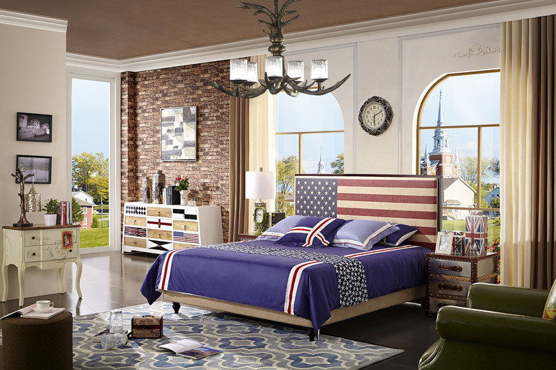 Bedroom Home Furniture modern Design Queen Size Fabric Soft Bed