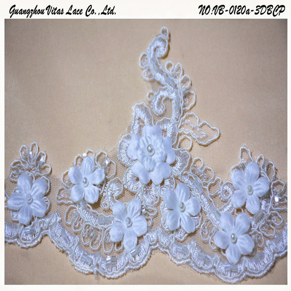 Flower Embroidery Lace Trim for Wedding Dress Vb-0120A-3dbcp