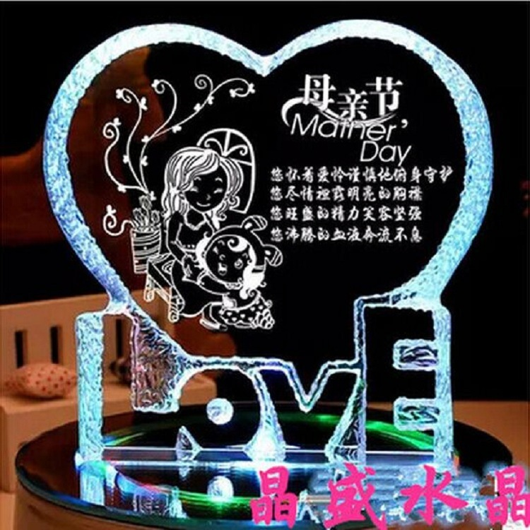 Personalized Heart-Shaped Crystal Color Printing Wedding Favor Craft Decoration