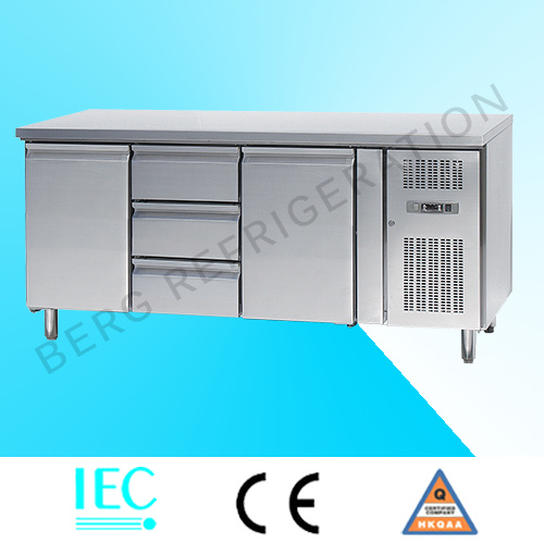Fan Cooling 304 Stainless Steel Under Counter Refrigerator with Ce