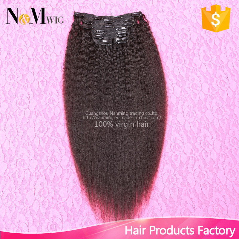 Brazilian Virgin Kinky Straight Clip in Hair Extensions, 100% Human Hair Kinky Straight Clip in Extensions, 7PCS/Set