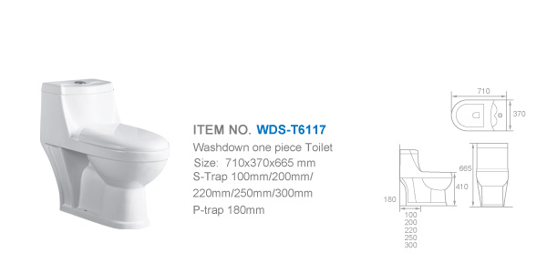 Weidansi Ceramic Wash Down S-Trap One Piece Toilet (WDS-T6117)