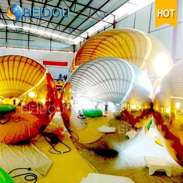 Wholesale Wedding Stage Plastic Mirror Balls 2m Gold Red Floating Disco Inflatable Mirror Ball