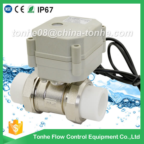 2-Way Brass Nickel Plated Electric Ball Control PP-R with Actuator Motorized Valve