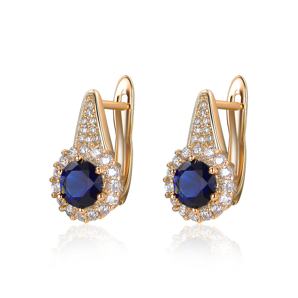 Dark Blue Zircon Women Gift Artificial Jewelry Clip Earring