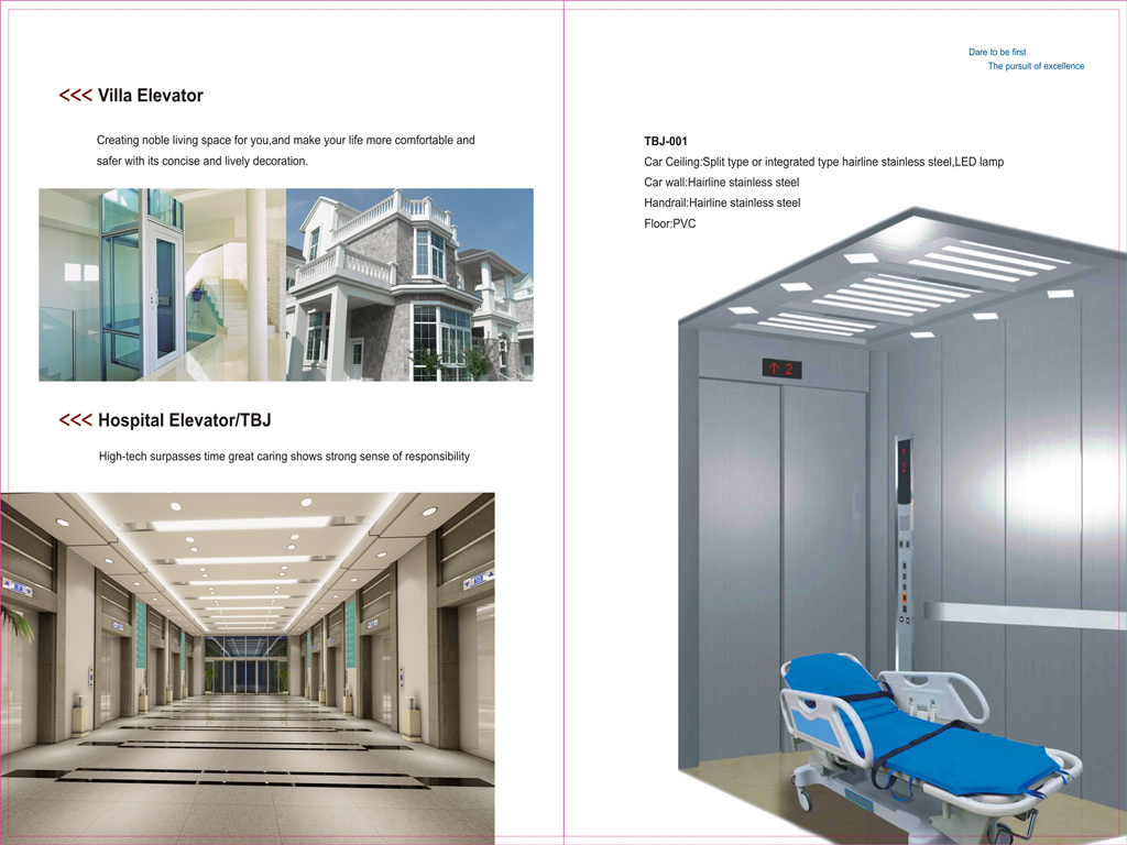 ISO9001 Passenger Freight Hospital Home Villa Observation Elevator Without Machine Room