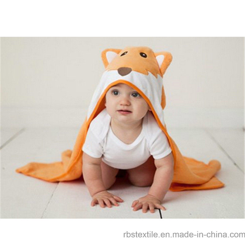 Animals Design 100% Cotton Baby Hooded Bath Towel with High Quality