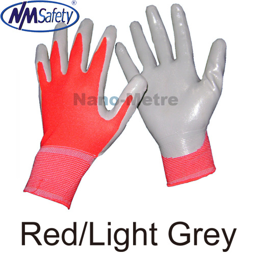 13G Nylong Polyster Coated Nitrile Work Gloves/Latex Working Glove