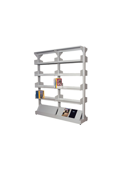 Steel Double Side Library Book Rack Office Furniture with Adjust Shelves/Bookshelf