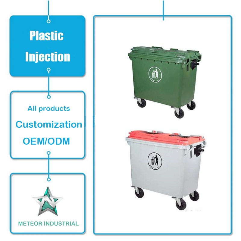Customized Plastic Products Outdoor Industrial Garbage Can Plastic Waste Bin Injection Molding