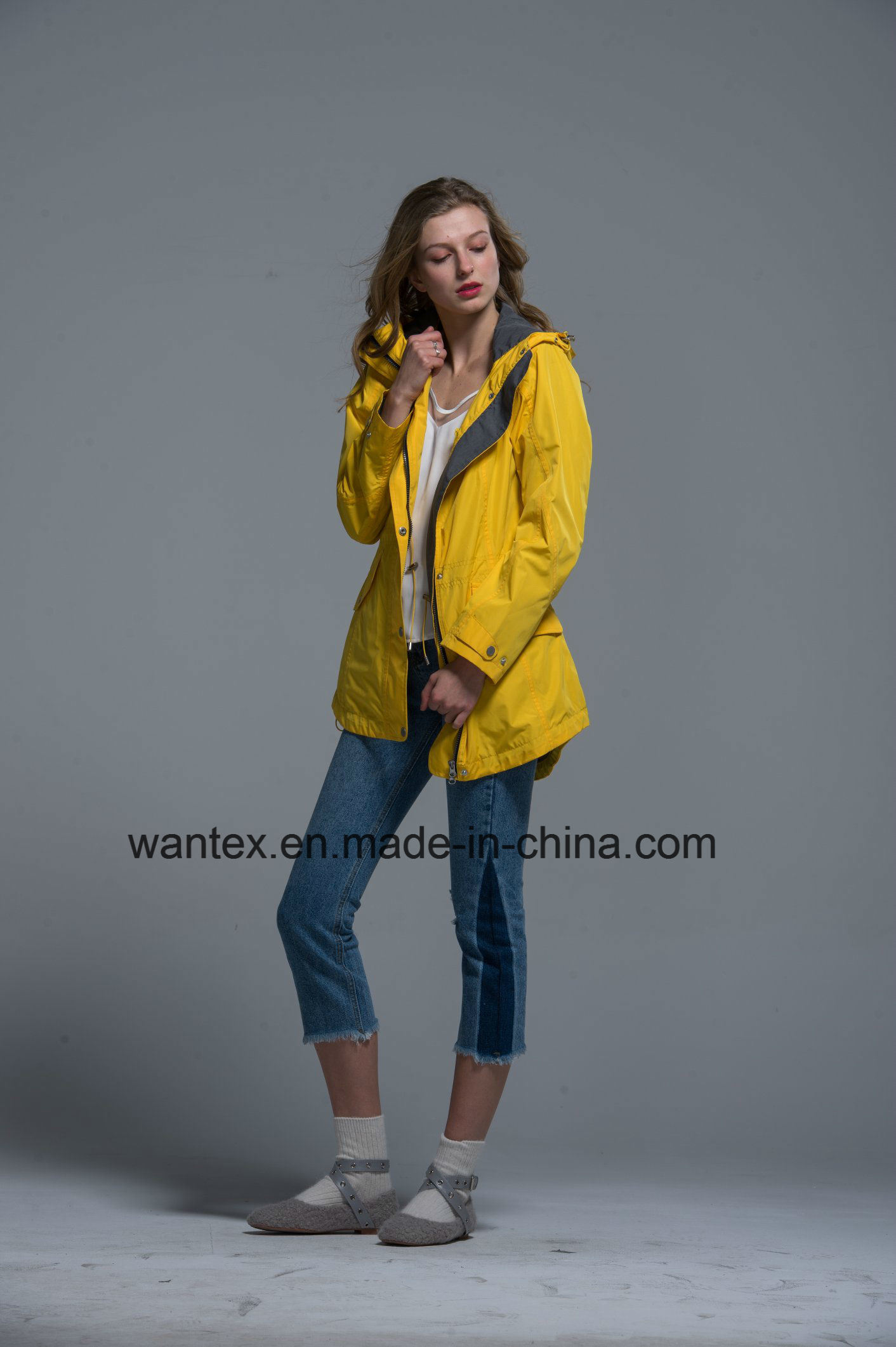 Ladies Loose Jacket Pizex Fashion 100% Cotton Spring Autumn Yellow Waterproof