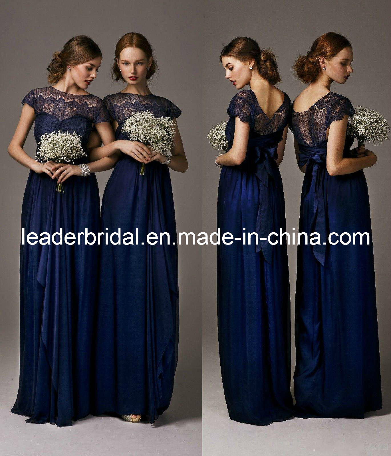 China new bridesmaid dresses navy blue lace chiffon empire for Navy blue dresses for wedding