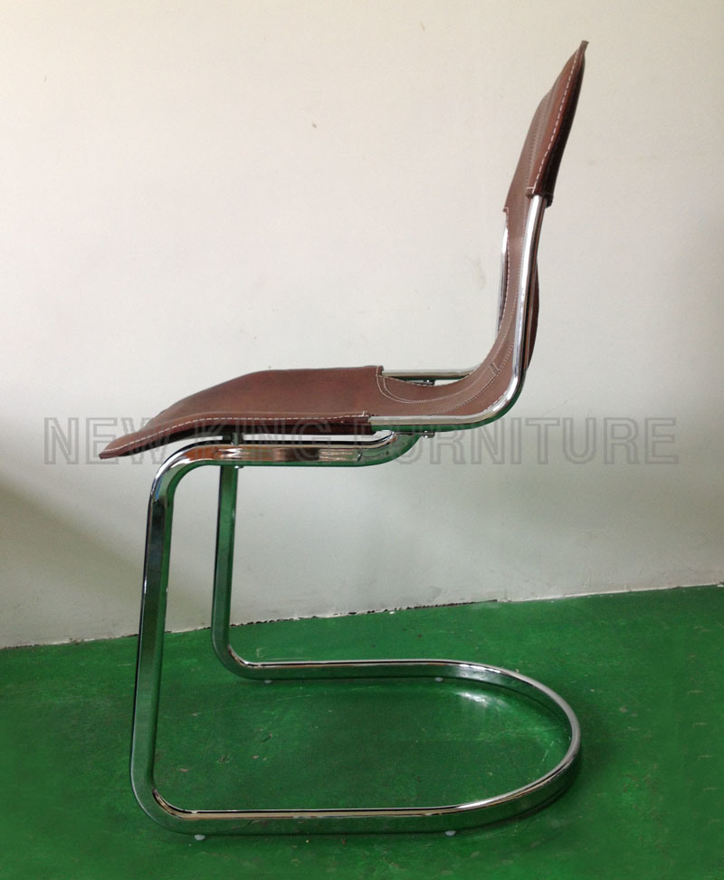 Modern Cheap European Style Chrome Steel Foot PU Leather Dining Chair (NK-DC027)