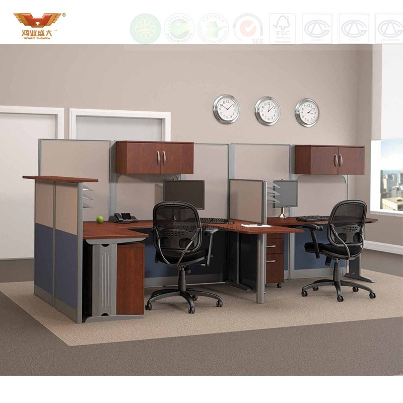 Fsc Forest Certificated Approved by SGS Modern L Shape Office Partition Workstation Office Furniture (HY-248)
