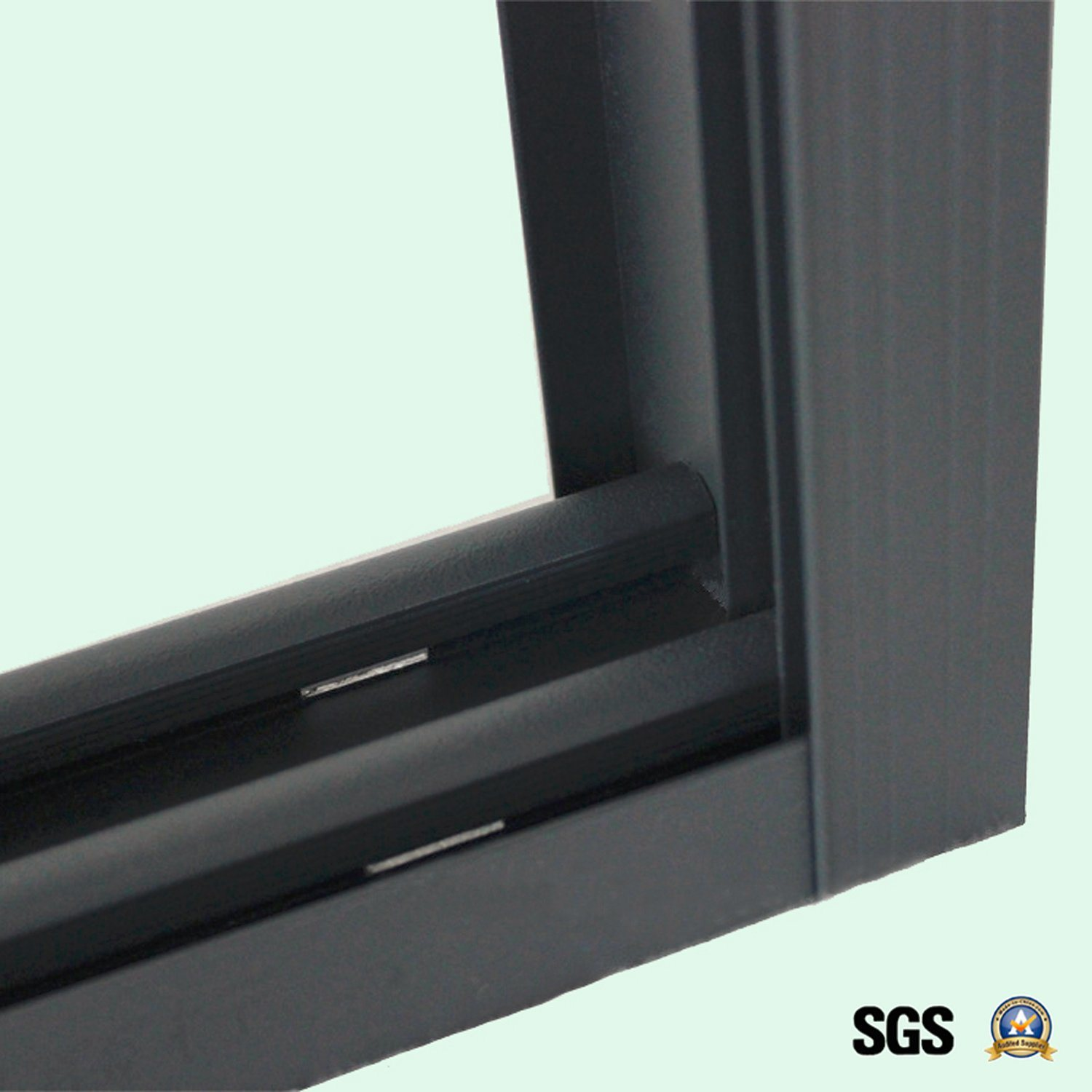 Powder Coated Grey Colour Aluminum Window with Latch Lock, Aluminum Sliding Window K01073