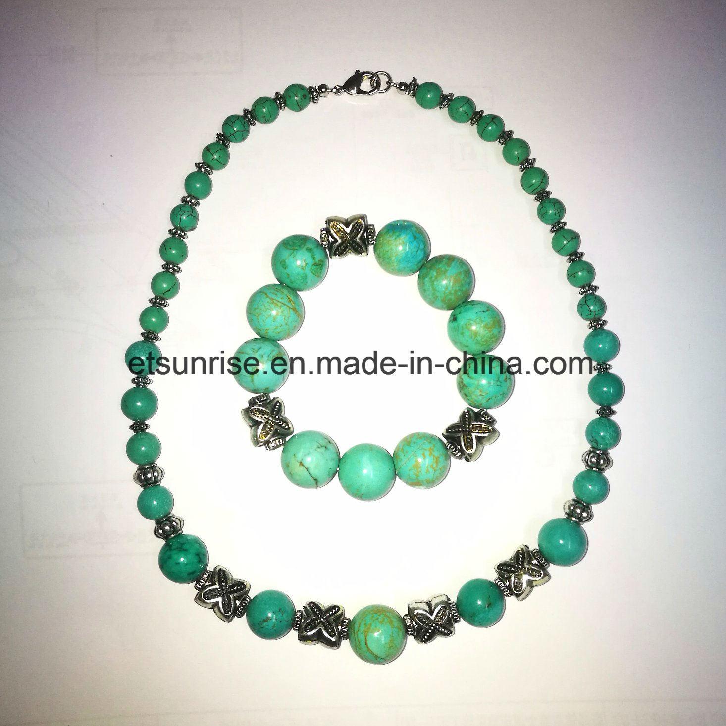 Fashion Turquoise Beaded Graduated Necklace