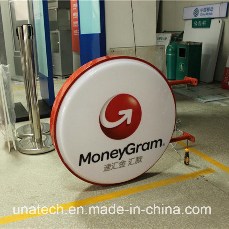 Round Money Gram Signboard Signage LED Sign Silk Printing Plastic Vacuum Light Box