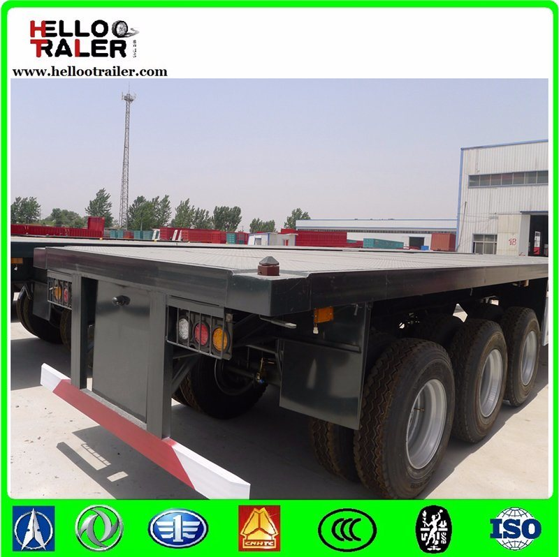 40FT Flatbed Semi Trailer Three Axle Flatbed Container Trailer