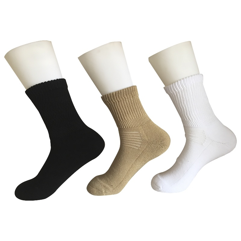 Half Cushion Sorbtek Coolmax Diabetic Health Care Medical Khaki Quarter Socks (JMDB07)