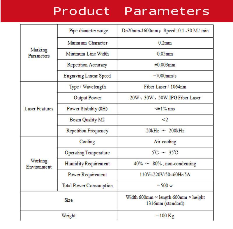 30W Ylpf-30b Fiber Laser Printer for Plastic Pipe
