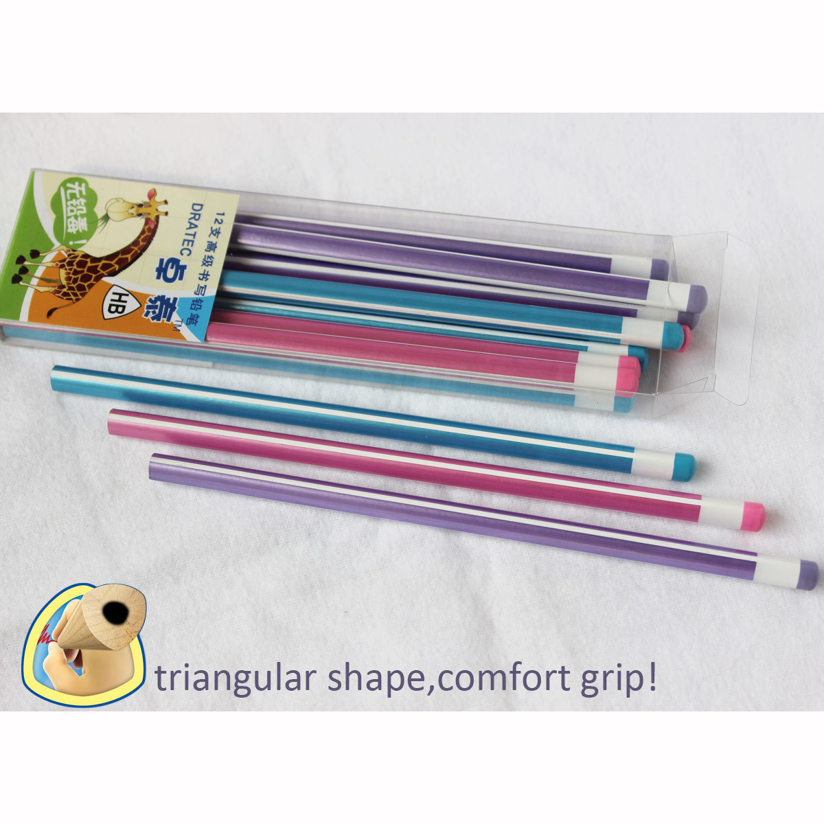 Triangle Pencils Hb with Stripe Paiting, Wooden Pencils (3614)